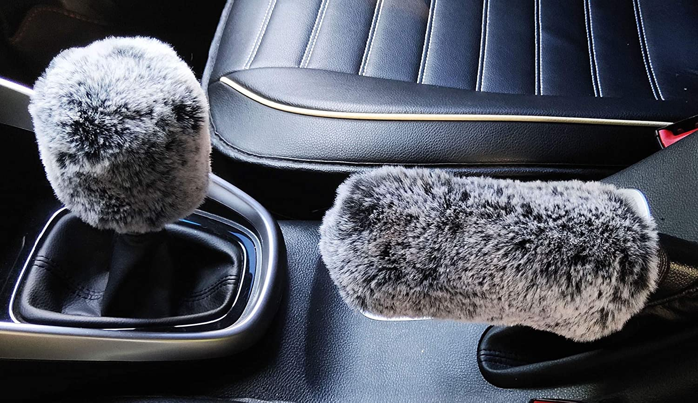 Manual,Wine Grey ixiton 3Pcs//Set Fashion Faux Wool Fur Furry Steering Wheel Cover,Short Hair Soft Fluffy Handbrake Cover,Gear Shift Cover,Universal Thickening Fuzzy Warm Non-Slip Auto Interior