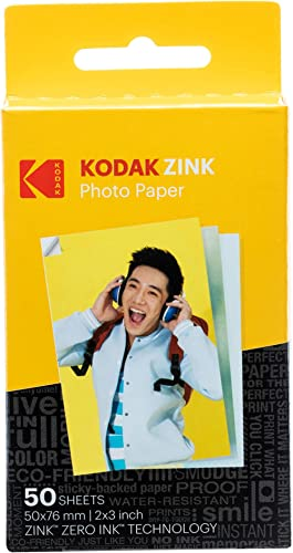 "Kodak 2""x3"" Premium Zink Photo Paper (50 Sheets) Compatible with Kodak Smile, Kodak Step, PRINTOMATIC"