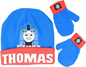 Toddler Thomas The Train Beanie Hat with Pom Pom and Mittens