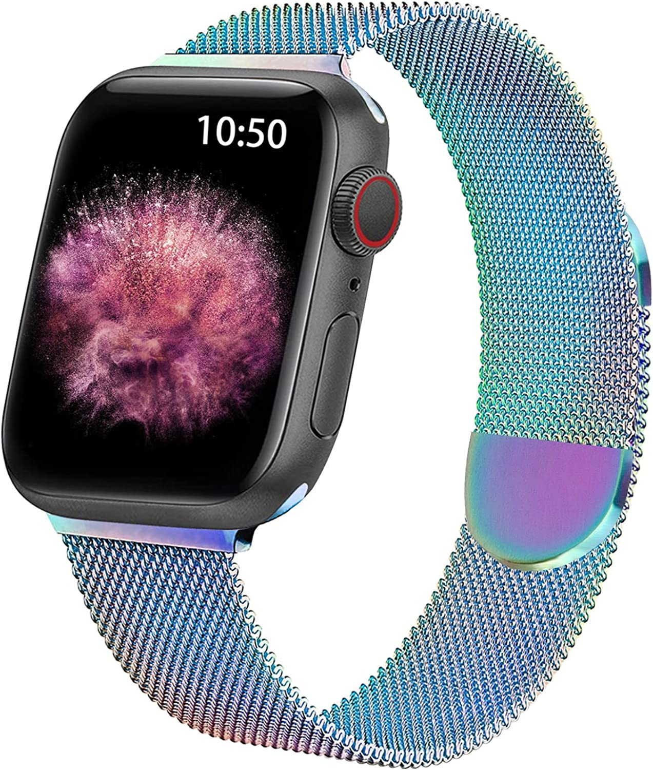 WETAL Metal Magnetic Milanese Band for Apple Watch Bands 44mm 42mm 40mm 38mm, Stainless Steel Mesh Strap for iWatch Series 6 5 4 3 2 1 SE