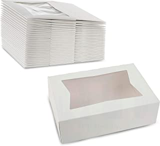 """White Pastry Bakery Box – Sturdy Kraft Paperboard Auto-Popup Box Keeps Pastries Safe, Clear Window for Visibility, Size 8"""" L x 5 3/4"""" W x 2 1/2"""" H by MT Products (25 Pieces)"""