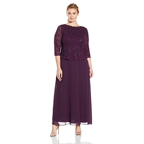 d1c4bb342a37 Alex Evenings Women's Plus Size Long Tea-Length Lace Mock Dress