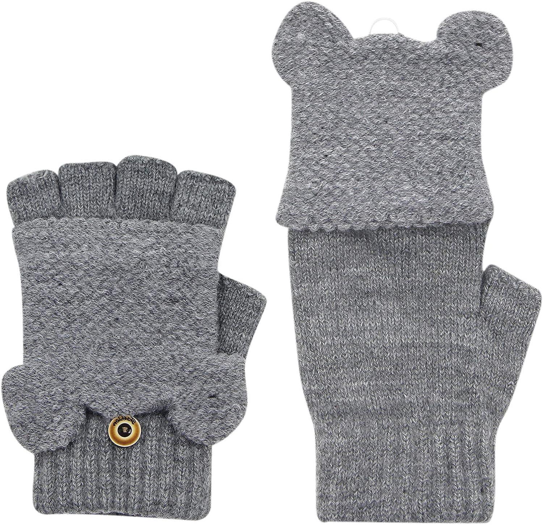 Kids Convertible Flip Top Gloves Mittens Bear Ears Winter Warm Half Finger Stretchy Knit Gloves for Boys Girls