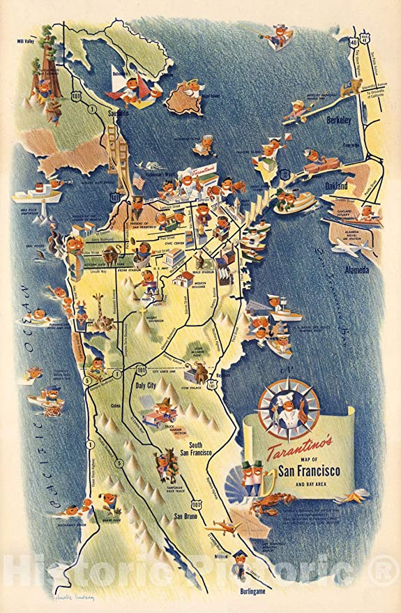 Amazon Com Historic Map Tarantinos Map Of San Francisco And Bay Area Charlie Lindsay 1950 Vintage Wall Art 44in X 67in Posters Prints See more ideas about map design, illustrated map, map. historic map tarantinos map