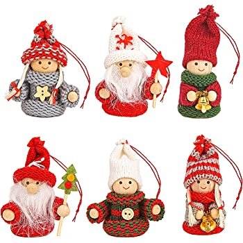 BRUBAKER 6-Piece Set Knitted Christmas Tree Hanging Dolls - Wood & Knit - Decoration - Ornaments