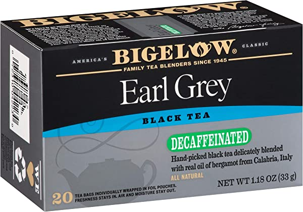 Bigelow Decaffeinated Earl Grey Tea Bags Decaffeinated Individual Black Tea Bags For Hot Tea Or Iced Tea 20 Count Pack Of 6 120 Tea Bags Total