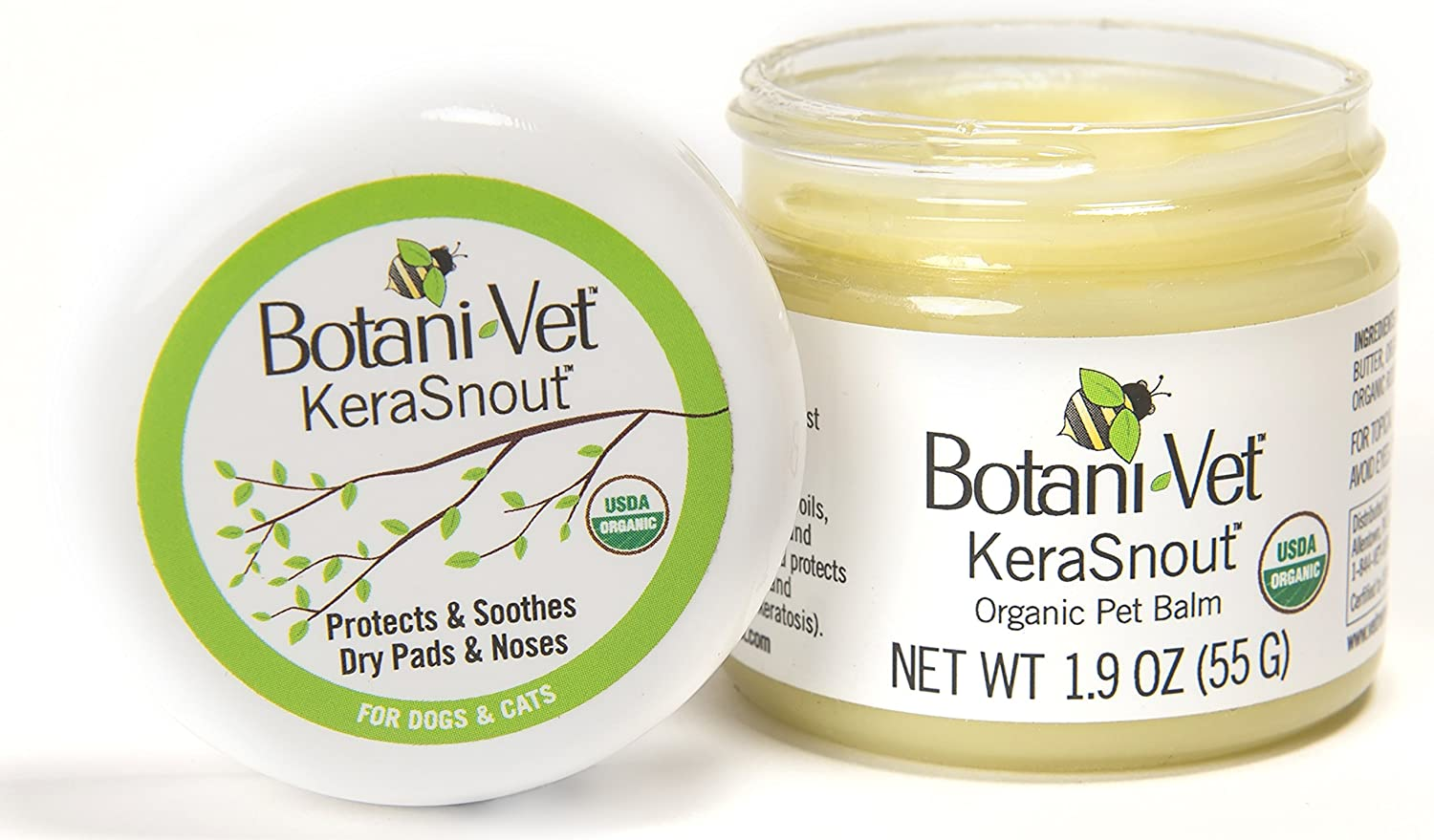 BotaniVet KeraSnout Organic Pet Balm  for Dry and Cracked Noses and Paw Pads  1.9oz
