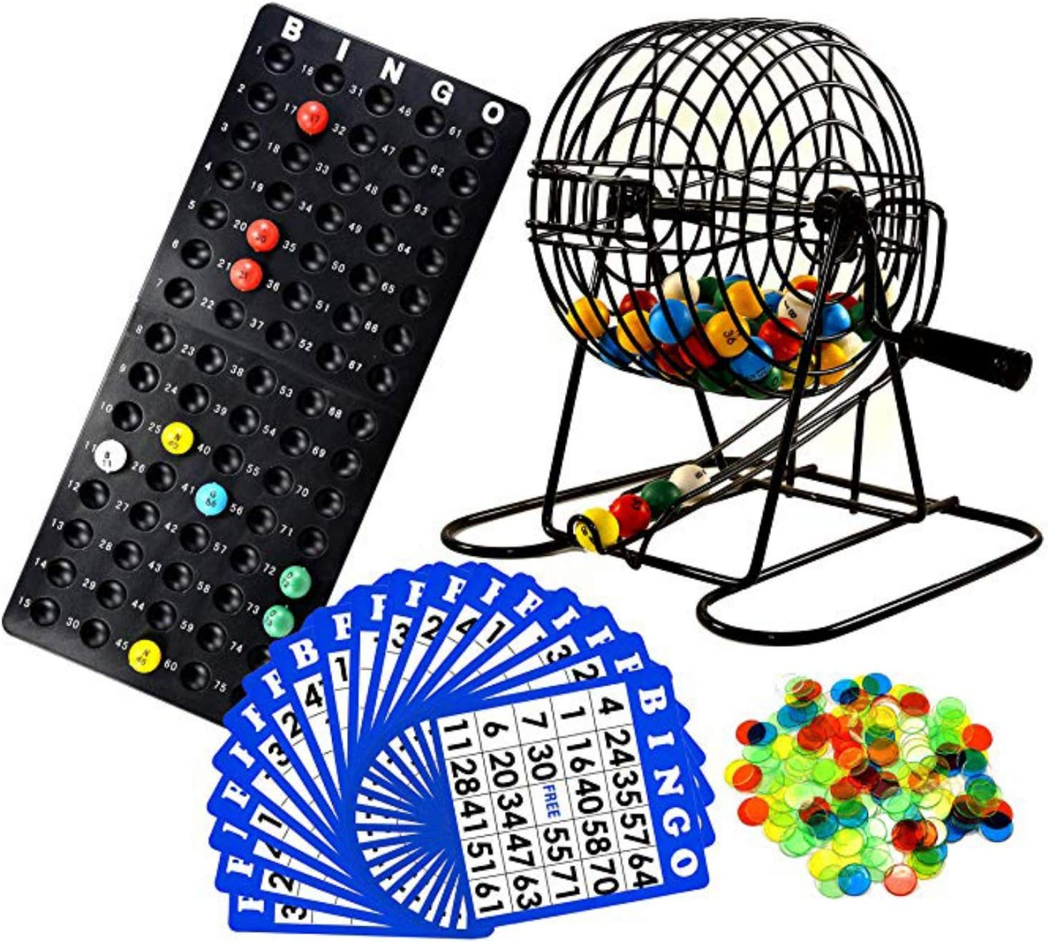 Vintage MiD-CENTURY BINGO CAGE w Wooden Numbered Bingo Balls Bingo Ball Cage Gold Wire Bingo Cage with Hand Crank /& Red Plastic Trim