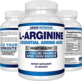 Premium L Arginine - 1340mg Nitric Oxide Booster with L-Citrulline & Essential Amino Acids for Heart and Muscle Gain - NO Boost Supplement for Endurance and Energy - 60 Capsules