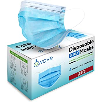 Wave Blue Disposable Face Masks | Indoor/Outdoor Protective Nose & Mouth Coverings with 3-Layer Safety Shield, Elastic Ear Loops & Comfortable Universal Design for Adults & Kids | Bulk Pack of 50