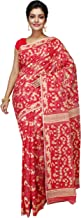 BigLimeTree FabstyleIndia Dhakai Jamdani with Mina Work (Handcrafted) (Red)