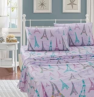 Kids Zone Home Linen 4 Piece Queen Size Sheet Set Lilac Paris for Girls/Teens Paris Eiffel Tower Printed.