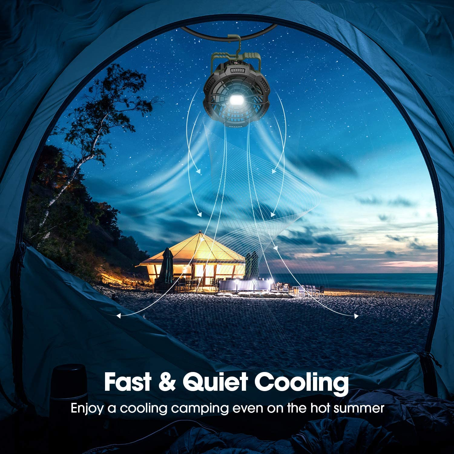 180/°Head Rotation Perfect Quiet Battery Operated USB Fan for Picnic 7800mAh Rechargeable Portable Tent Fan with Remote Control Barbecue Camping Fan with LED Lantern Power Bank Fishing
