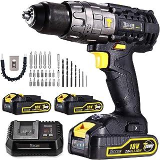 Perceuse Visseuse sans Fil, TECCPO 30min Rapide Chargeur(60Nm), 2×2.0Ah Batteries 18V, Perceuse a Percussion 13mm Mandrin ...