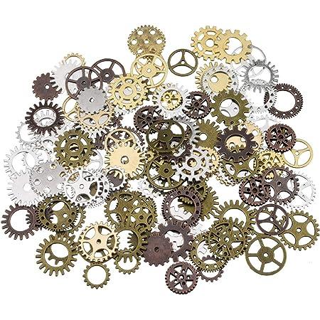 steampunk antique engrenages pendentif horloge roue de roue pour l'artisanat, bricolage, couleurs mélangées (100 grammes)
