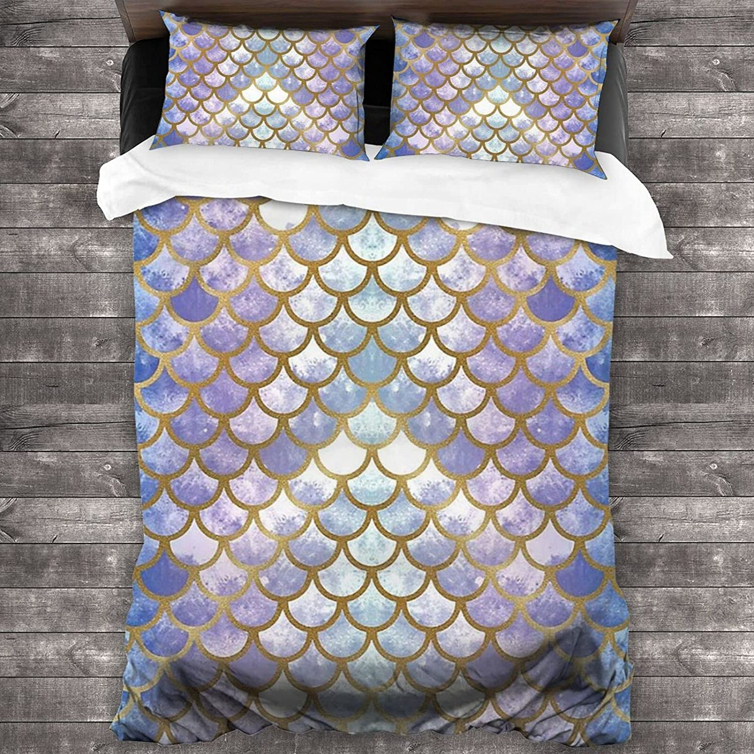 Jreergy Colorful Mermaid Quantity limited Scale 3 Piece Full Que Boston Mall Set Bedding Twin