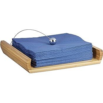 Relaxdays Porte-serviettes de table en bambou avec boule support HxlxP nature 3,7 x 21,7 x 21,7 cm
