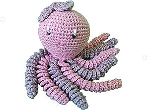 Pulpo amigurumi para recién nacido en color gris y rosa palo. Pulpo de ganchillo - crochet para bebé, ideal como regalo de...
