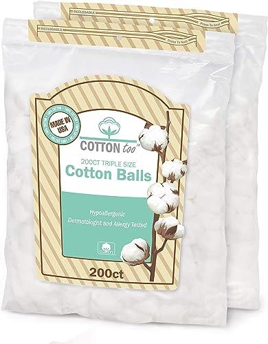 Cotton Too 200 Piece Triple Size 100% Cotton Balls, 2 Count
