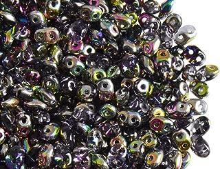 Amethyst White Luster Super Duo Beads 20gram Czech Perline SUPERDUO 2 fori 2,5x5mm colore