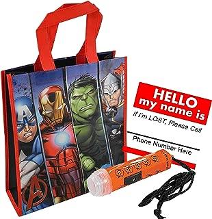 UPD Avengers Reusable Medium Sized Halloween Trick or Treat Loot Bag! Featuring Captain America, Iron Man, The Hulk & Thor! Plus Bonus Safety First Sticker & Mini Halloween Flashlight Necklace!