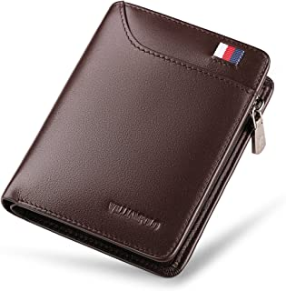 WILLIAMPOLO Men Wallets Genuine Leather Slim Wallet Mens Short Money Clips Small Coin Pocket Bifold Credit Card Holder Thi...
