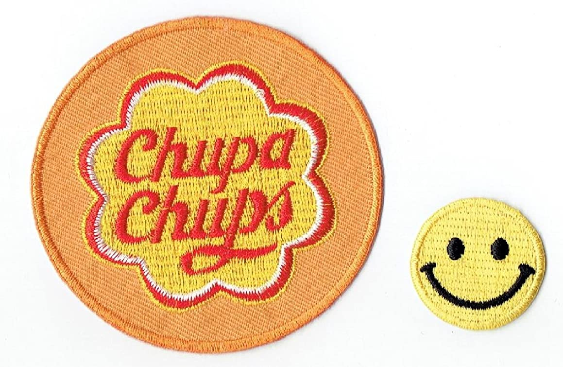 CHUPA CHUPS Applique embroidered iron on PATCHES (Wappen, ワッペン , ??) with Yellow Tiny Smiley Patches by PATCH CUBE