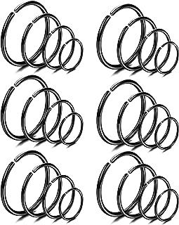 18-24Pcs 20G 316L Stainless Steel Nose Ring Hoop Cartilage Hoop Septum Piercing 6-12mm