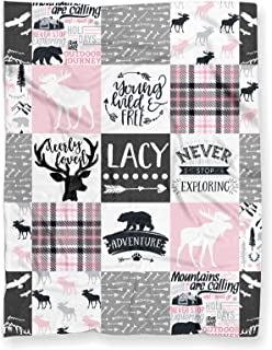 """Puddle Kickers Personalized Moose Minky Baby Blanket Woodland Boho for Girl (Soft Polyester Fleece - 30"""" x 40"""" - Light Pin..."""