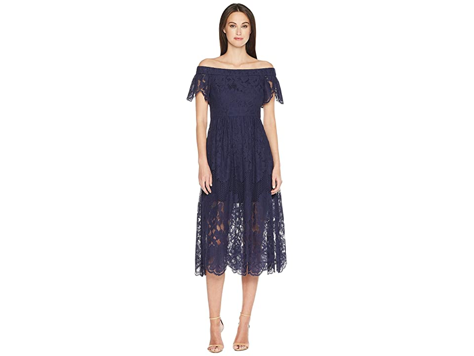 Vince Camuto Lace Off the Shoulder Midi Dress (Navy) Women