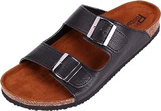 Pinpochyaw Mens Arizona Sandals 2-Strap Cork Flip Flops Footbed Leather Sandal