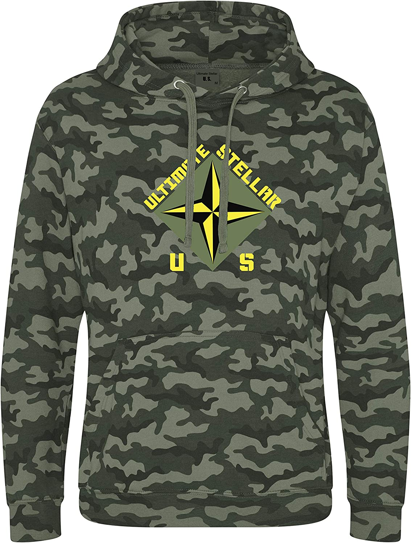 Ultimate Stellar US Men's Woodland Camouflage Hooded Green Sweatshirt Camo Hoodie