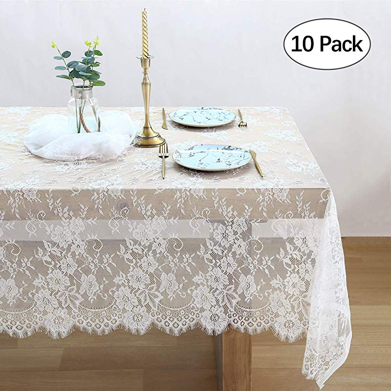 QueenDream 10 Pack White Lace Tablecloth Kitchen Tablecloths For Rectangle Tables Size 60X120 Inches For Party Banquet Dining Wedding Decorations