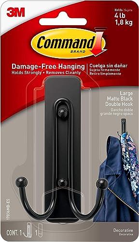 Command Matte Black Double Hook, Large, 1 Hook, 1 Strip