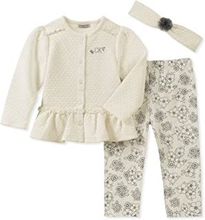 Calvin Klein Baby Girls 2 Pieces Cardigan Pant Set with Headband