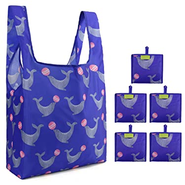 Sea Lion Shopping Bags 5 Pack Bulk Ripstop Nylon Durable Grocery Totes Folding Convenient with Little Pouch Large Compact Bags for Shopping Groceries Travel (Royal Blue)