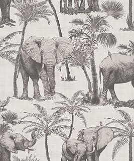 Arthouse 610702 Wallpaper, Elephant Grove Charcoal, One SIZE