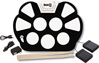 RockJam Portable Electronic Roll up Drum Kit with, Power Supply, Foot Pedals, Headphone Jack, and Drumsticks, inch (RJ758)