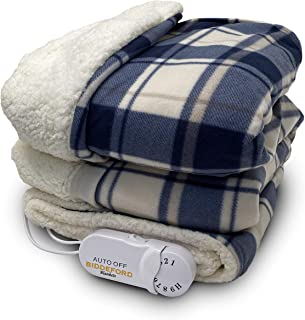 Biddeford Blankets Comfort Knit Sherpa Electric Heated Blanket with Analog Controller, Throw, Blue/White Plaid