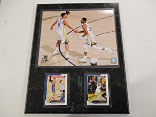 STEPH CURRY & KLAY THOMPSON GOLDEN STATE WARRIORS CELEBRATE DURING 2018 NBA FINALS PHOTO PLUS 2 CARDS MOUNTED ON A