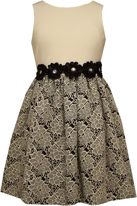 Bonnie Jean Girls Modern Black and Ivory Contrast Banding Dress