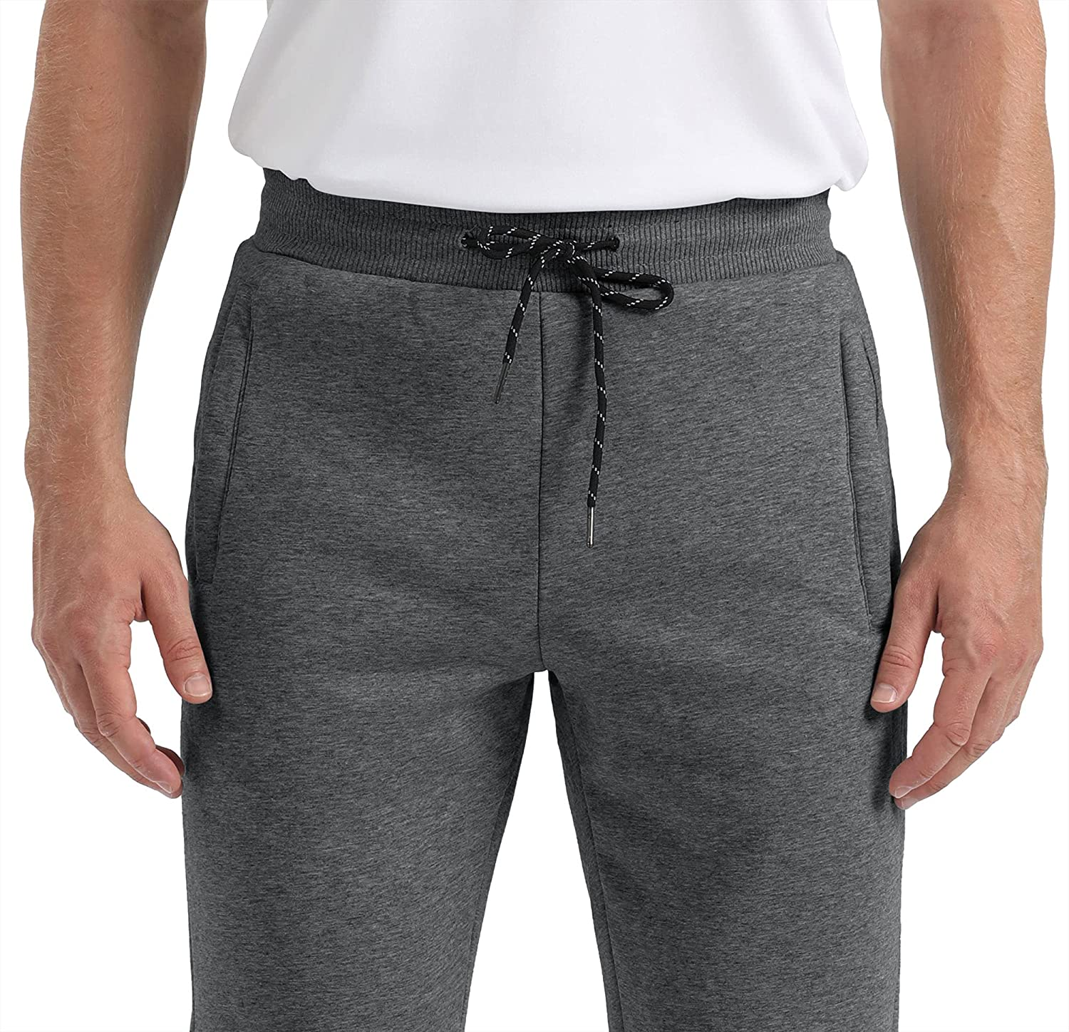 CRYSULLY Men's Winter Sherpa Lined Sweatpants Fleece Thermal Athletic Jogger Pants