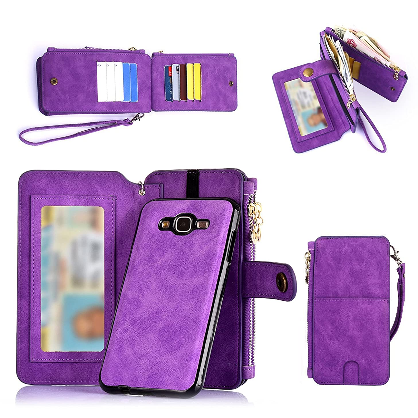 Galaxy J7 Wallet Case, Improved 12 Card Holder, Dual Zipper Cash Change Slot, PU Leather Cover with Detachable Magnetic Phone Case - Purple