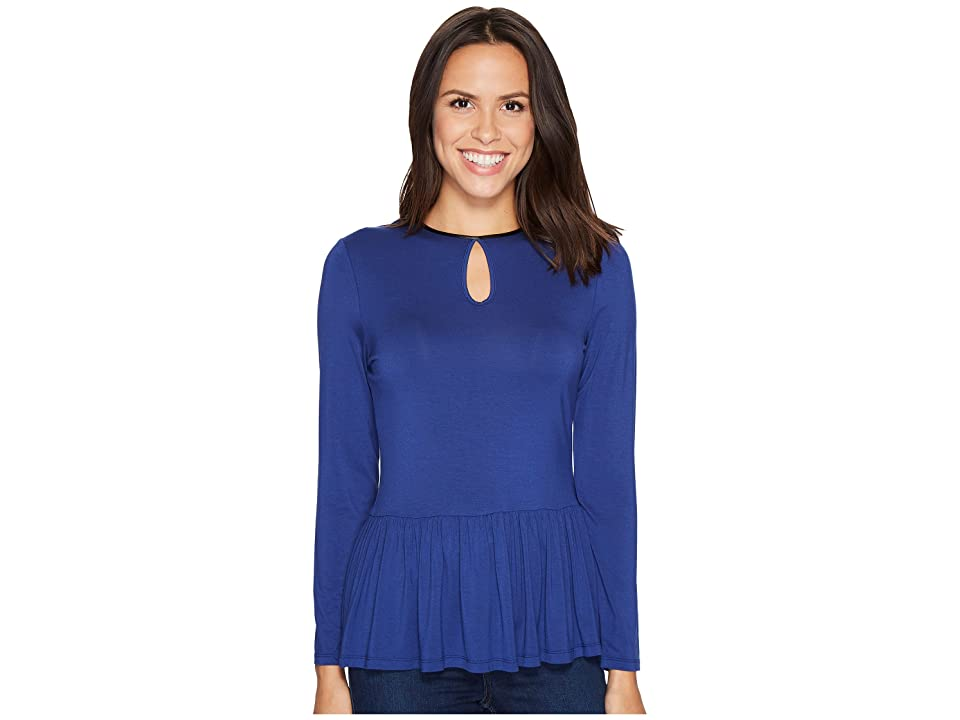 Ivanka Trump Knit Peplum Long Sleeve with Keyhole (Twighlight) Women's Long Sleeve Pullover