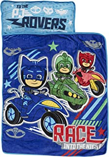 PJ Masks Race Into The Night Nap Mat - Includes Pillow and Fleece Blanket - Great for Boys and Girls Napping at Daycare, Preschool, Or Kindergarten - Fits Sleeping Toddlers and Young Children