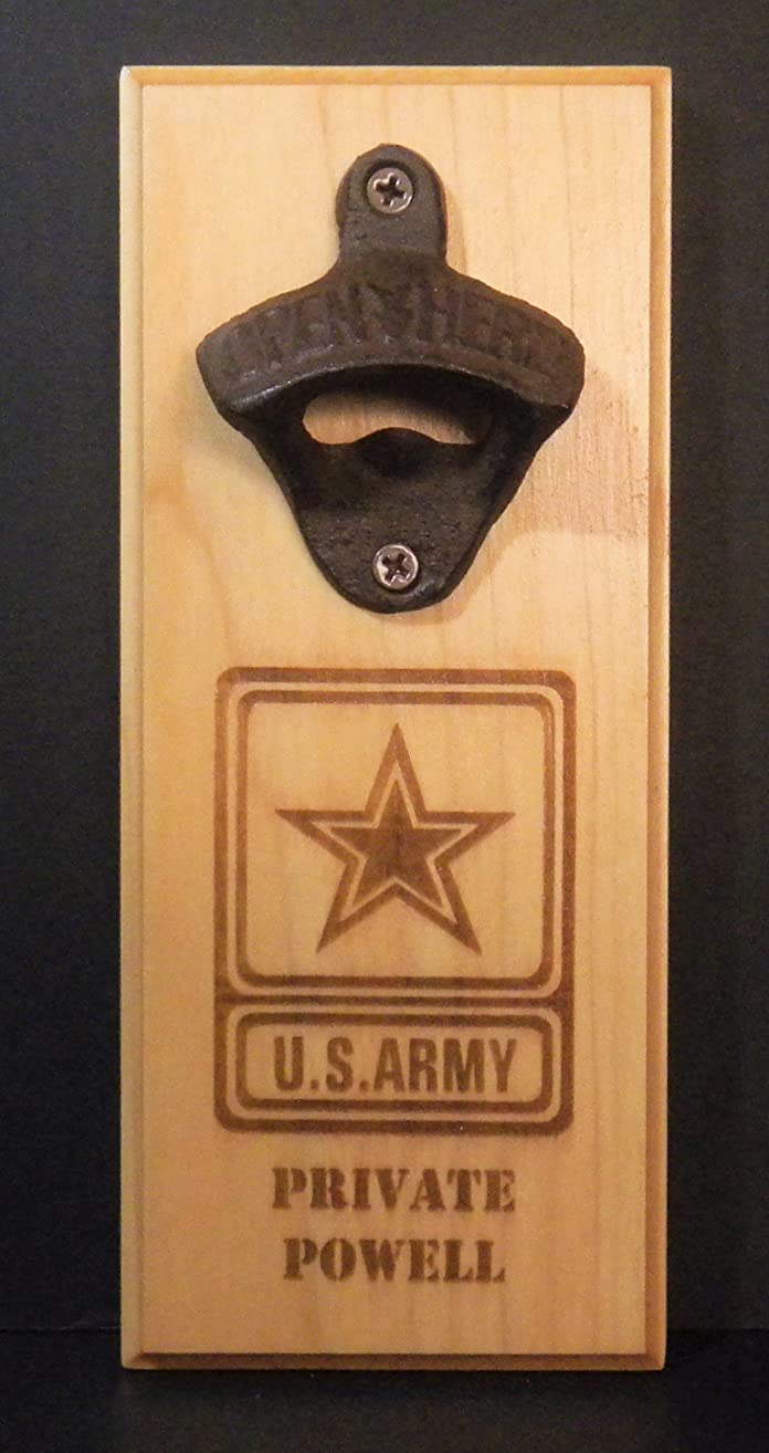 US Army Magnetic Bottle Opener and Cap Catcher Refrigerator or Wall Mountable Novelty Bar Product FREE Personalization