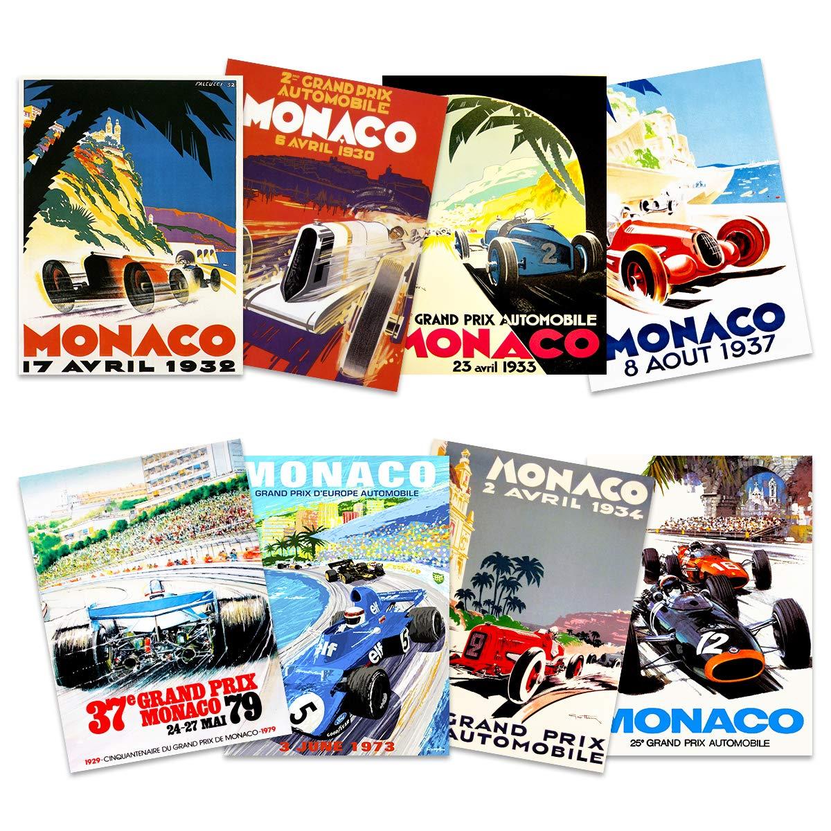 Monaco Grand Prix Classic Racing Motor Sport Advert Mixed Home Decor Premium Wall Art Poster Pack of 8 M�NACO grandioso Cl�Sico Carreras Deporte Publicidad Casa Pared P�ster: Amazon.es: Hogar