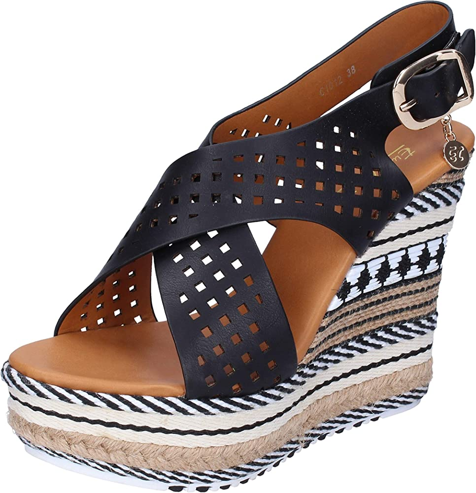 Enrico coveri, zeppe, sandali per donna in pelle sintetica e tela