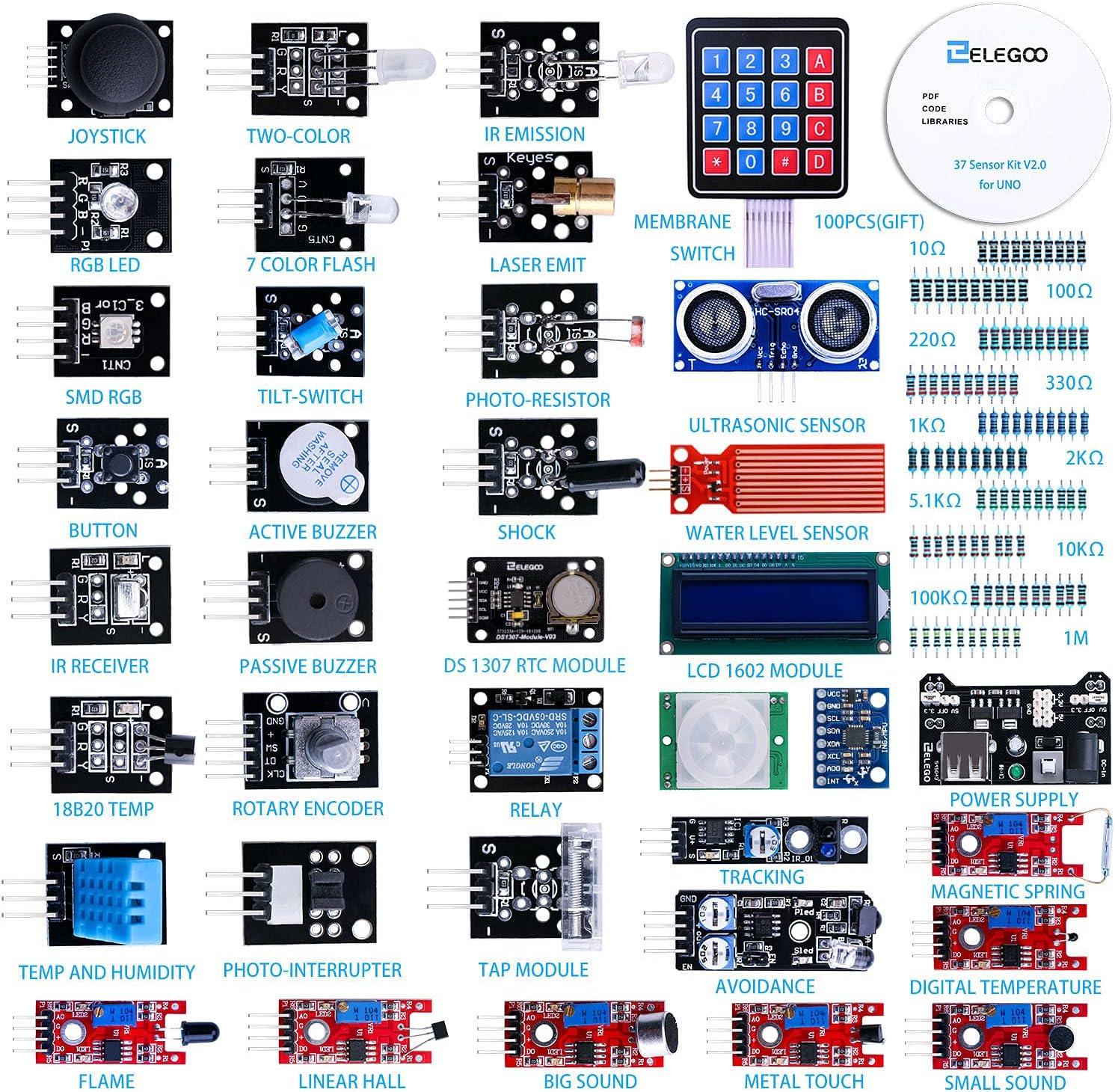ELEGOO Upgraded 37 in 1 Sensor Modules Kit with Tutorial Compatible with Arduino IDE UNO R3 MEGA Nano