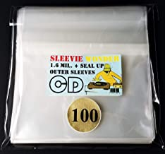 CD - 100 Resealable 1.6mil Polypropylene Outer Sleeves - Top Loads Over Standard Jewel Case - Crystal Clear Plastic (+ 1 Free dj Magnet)